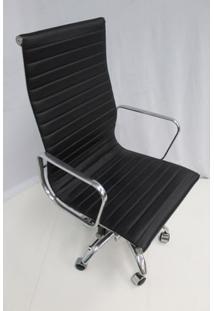 Cadeira Office Outlet Estofada Alta Preta Aluminio - 10 - Sun House