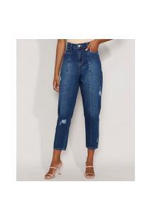 Calça Jeans Feminina Cintura Alta Sawary Baggy Com Rasgos E Recortes Azul Escuro