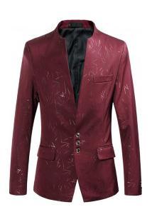 Blazer Masculino Design Liso Riscado - Vinho