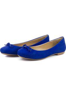 Sapatilha Casual Laço Em Couro Q&A Azul Royal