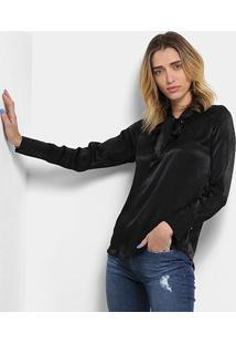 Blusa Top Moda Acetinada Laço Feminina - Feminino-Preto