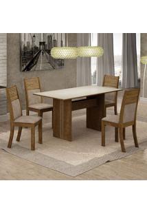 Conjunto De Mesa De Jantar Florença Com 4 Cadeiras Havaí Suede Off White E Marrom