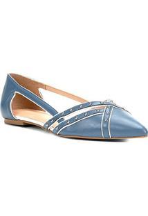 Sapatilha Couro Shoestock Bico Fino Cravos Feminina - Feminino-Azul