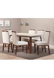 Conjunto De Mesa De Jantar Croácia Com 6 Cadeiras Linho Off White E Branco