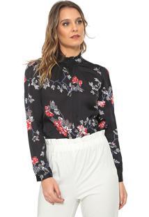 Camisa Only Floral Preta