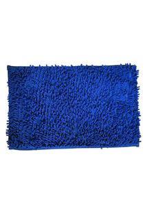 Tapete Antiderrapante Bolinha Microfibra 40X60 Azul