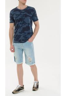 Camiseta Ckj Mc Camuflada - Azul Marinho - Pp