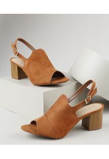 Sandal Boot Feminina Oneself Salto Grosso Médio Em Suede Cobre