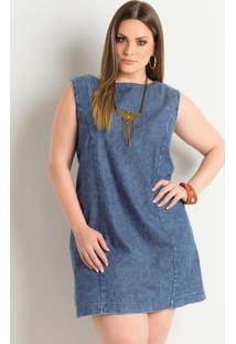 Vestido Trapézio Jeans Plus Size Quintess