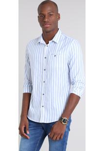 Camisa Masculina Slim Listrada Com Bolso Manga Longa Azul Claro