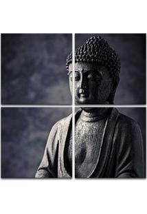 Quadro 80X80Cm Estátua De Buda Decorativo Interiores Salas Cinza