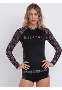 Camiseta Billabong Lycra Tropical Water Manga Longa Feminina - Feminino-Preto+Pink