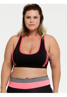 Top Plus Size Marisa Fitness Neon Nadador Feminino - Feminino