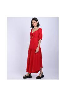 Vestido Feminino Longo Com Abertura Manga Curta Vermelho
