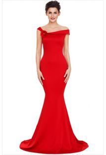Vestido Longo Elegante Ombro Único - Vermelho P