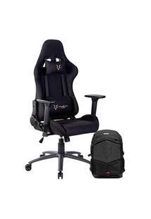 Cadeira Gamer Husky Racing Black - Hrc-Bla + Mochila Gamer Husky Gaming Avalanche, Para Notebook De Até 17.3´, Preta