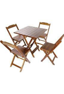 Mesa + 4 Cadeiras Decker Bar Dobrável, Imbuia