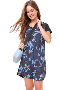 Vestido Redley Curto Birds Preto/Azul