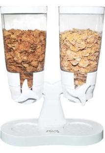 Dispenser Duplo Porta Alimentos Hermético 2 Em 1 Inox Makeda