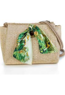 Clutch Palha Natural Fauna Bege
