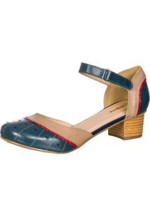 Sapato Boneca Retro Malbork Em Couro Marinho 3114 Azul/Bege