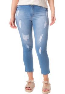 Calça Feminina Max Denim Skinny Azul Claro - 42