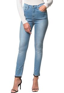 Calça Jeans Five Pockets Jegging High - Azul Claro - 40