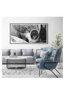 Quadro Com Moldura Chanfrada Abstrato Cinza 40X100