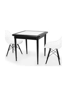 Conjunto Mesa De Jantar Em Madeira Preto Prime Com Azulejo + 2 Cadeiras Vision - Branco
