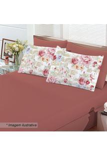 Jogo De Cama Floral King Size- Vermelho Escuro & Rosa