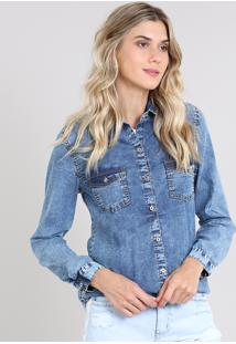 Camisa Jeans Feminina Com Bolsos Manga Longa Azul Médio