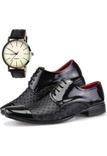 Sapato Social Dhl Calçados Neway Artesanal Preto Relógio