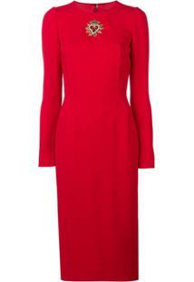 5f91581fe5ea8 ... Dolce   Gabbana Vestido Com Aplicação De Cristais - Vermelho