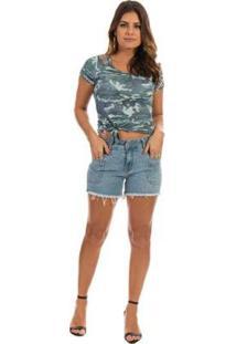 Blusa Dioxes Jeans Com Estampa Feminina - Feminino-Verde