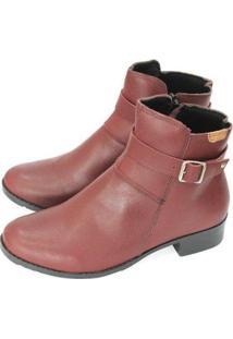 Bota Couro Dali Shoes Cano Curto Salto Baixo Feminina - Feminino-Vermelho