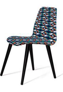 Cadeira Estofada Jacob Estampa Geo Gre Pes Palito Preto - 49531 Sun House