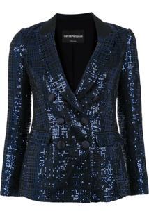 Emporio Armani Blazer Com Paetês - Azul
