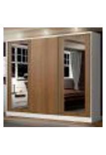 Guarda-Roupa Casal Madesa Eros 3 Portas De Correr Com Espelhos - Branco/Rustic