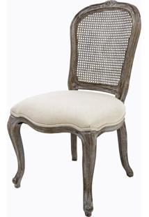 Cadeira Brasão Linho Cru/Madeira Decapê Cinza