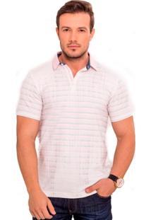 Camiseta Polo Branca Estampada - Masculino