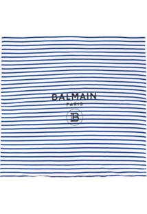 Balmain Kids Cobertor Listrado Com Logo - Azul