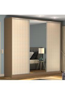 Guarda-Roupa Casal 3 Portas Correr 1 Espelho 100% Mdf Rc3002 Ocre/Noce - Nova Mobile