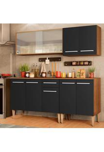 Cozinha Completa Madesa Emilly Box Com Balcão E Armário Vidro Miniboreal - Rustic/Preto Marrom