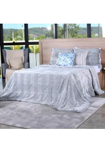 Cobertor Slim Peles Casal Com Porta Travesseiro Grigio - Tessi.