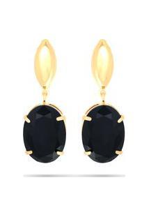 Brinco Kumbayá Gota Preto Semijoia Banho De Ouro 18K Cristal Negro