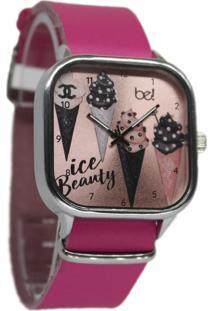 Relógio Bewatchoficial Pulseira De Couro Pink Beauty Rose