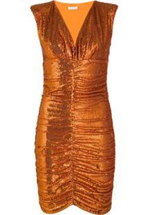 P.A.R.O.S.H. Vestido Franzido Com Paetês - Laranja