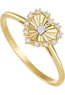 Anel Em Ouro Amarelo 18K Com Diamante-Stripes 18