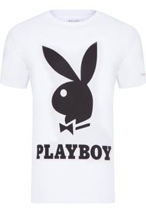 Camiseta Masculina Cotton Light Fine Bunny Playboy Classic - Branco