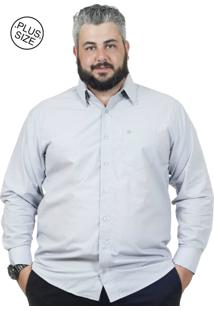 Camisa Plus Size Bigshirts Manga Longa Maquineta Cinza